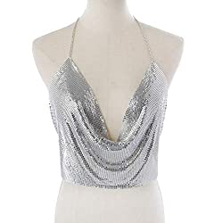 Silver Sequin With Chain Strap & Deep V-Neck T-Shirt