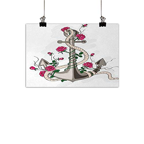 Michaeal Anchor Canvas Wall Art Sea Anchor Entwined with Flourishing Roses Romantic Summer Ocean Inspiredhome Crossing paintingTaupe Beige Hot Pink W24 x H20