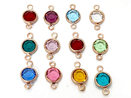 - 12pc Set of Genuine 6mm Swarovski Birthstone Channel Connectors or Links Rose Gold Plated Swarovski Birthstone Links