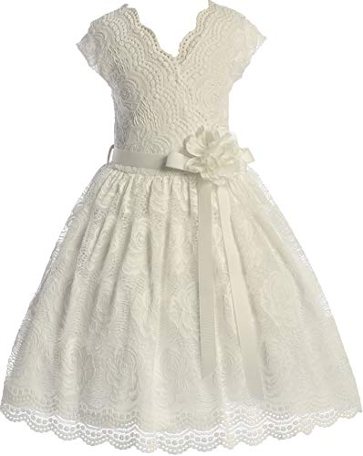 (BNY Corner Flower Girl Dress Curly V-Neck Rose Embroidery Allover for Big Girl Off White 16 JKS.2066)
