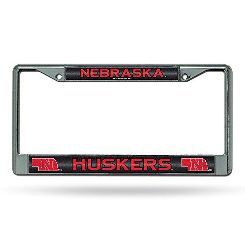 NCAA Nebraska Cornhuskers Bling Chrome License Plate Frame with Glitter Accent