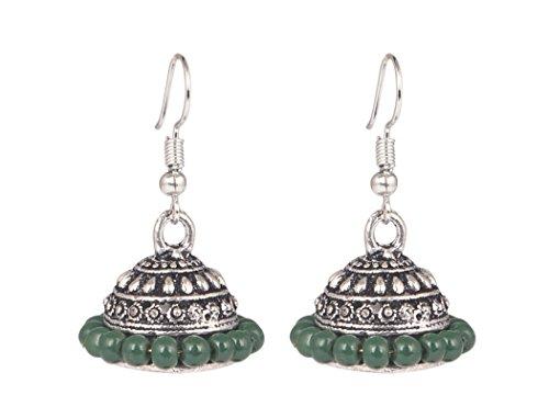 12 Light Chand - Sansar India Bollywood Light Green Beads Silver Plated Jhumki Jhumka Earrings for Girls and Women