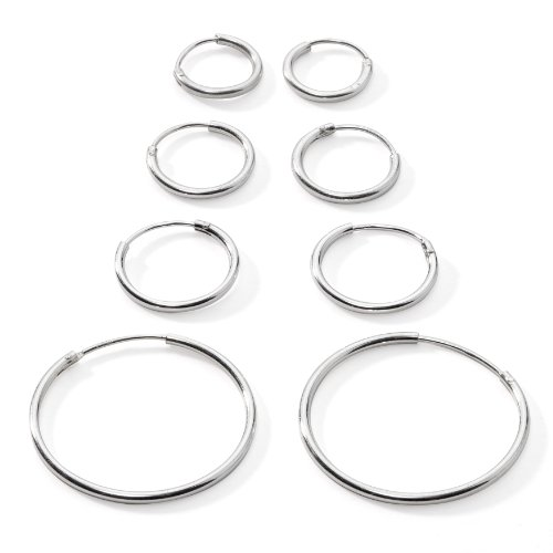 Silverline Jewelry 925 Sterling Silver Small Endless Hoop Earrings for Cartilage/Nose/Lips, 10mm, 12mm, 14mm & 24mm, (Sterling Silver Small Endless Hoop)