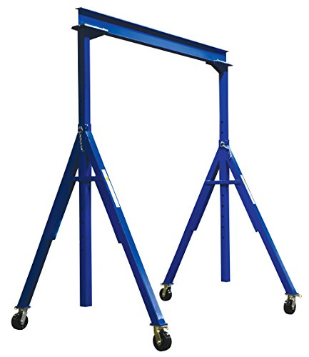 Vestil AHS-6-10-16 Steel Adjustable Height Gantry Crane, 6000 lbs Capacity, 10' Length x 8'' Height Beam, 127''-193'' Usable Height by Vestil