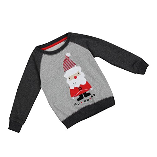 Clearance Toddler Baby Boy Santa Print Christmas Sweatshirt Long Sleeve Kids Winter Warm Clothes Outfit (Gray, 2T)