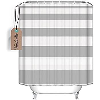 Nautical Stripe Design Fabric Shower Curtain Gray And White Extra Long 72x84 Inch