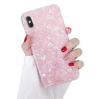 Dailylux iPhone Xs Case,iPhone X Case Cute Phone Case for Girls Women Glitter Pretty Design Protective Slim Shockproof Pearly-Lustre Shell Bumper Soft Silicone TPU Cover for iPhone X/Xs 5.8 inch,Pink
