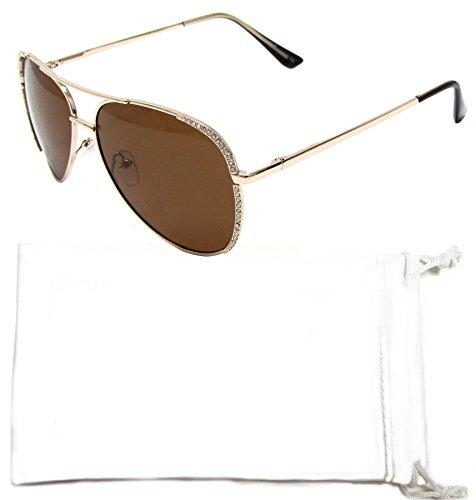 Vox Women's Polarized Aviator Sunglasses Rhinestone Fashion Designer Vintage Classic Chic Eyewear – Gold Spring Hinge Frame – Polarized Amber - Sunoptic Frames