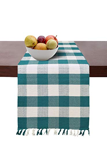 - Cotton Clinic Gingham Buffalo Check Table Runner Farmhouse Style 72 Inch, 14x72 Wedding Table Runner Fringes, Rustic Bridal Shower Decor Dining Table Runner Teal Green White