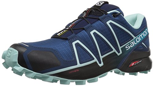 Salomon Women's Speedcross 4 W Trail Running Shoe, Poseidon/Eggshell Blue/Black, 8.5 M US