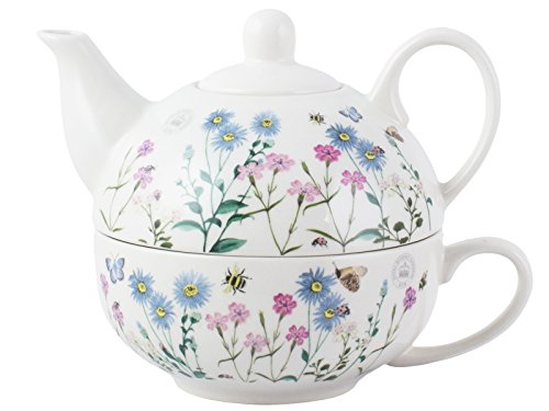 Royal Botanic Gardens Kew 5175177 Meadow Bugs te para una Taza y Tetera, ceramica, Beige, Tea for One