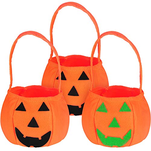 Jovitec 3 Pieces Halloween Candy Bags Pumpkin Candy Hand Bags Trick or Treat Bags Felt Bags with Handle for Kids Halloween Costume (Felt Treat Bags)