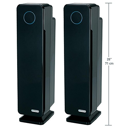 "GermGuardian Elite 28"" HEPA Tower Air Purifier w/ Digital Display ""One GREAT Product, So Many Benefits"", Black Finish (2-pack)"