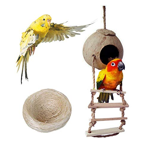 Coconut Nest - Bird Nest for Parakeets Naturals Coco Parrot Breeding Box Lovebird House Cage Play Hanging Toy with Ladder for Budgies Parakeet Cockatiels Conure Canary Finch Pigeon
