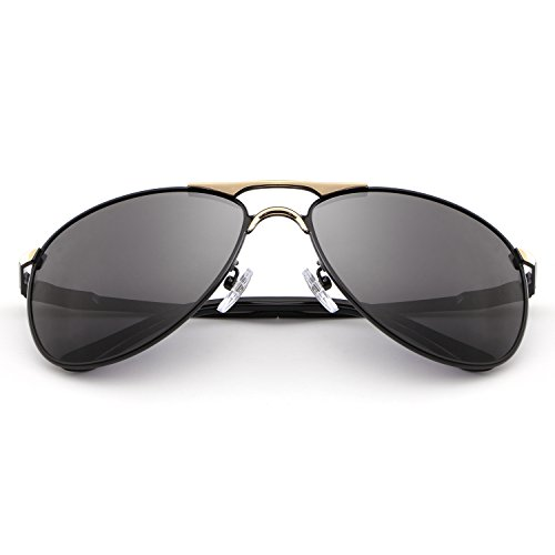 HDCRAFTER Classic Aviators Metal Frame Mirrored Lens Sunglasses Polarized - Cheap For Big Heads Sunglasses