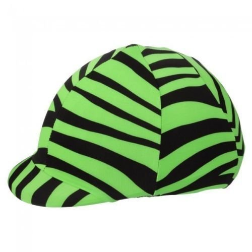 Q&A SUPPLY Horse Riding Helmet Cover in Fun Prints in Lime Green Zebra