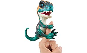 WowWee Untamed Raptor Fingerlings - Fury (Blue) - Interactive Collectible Dinosaur