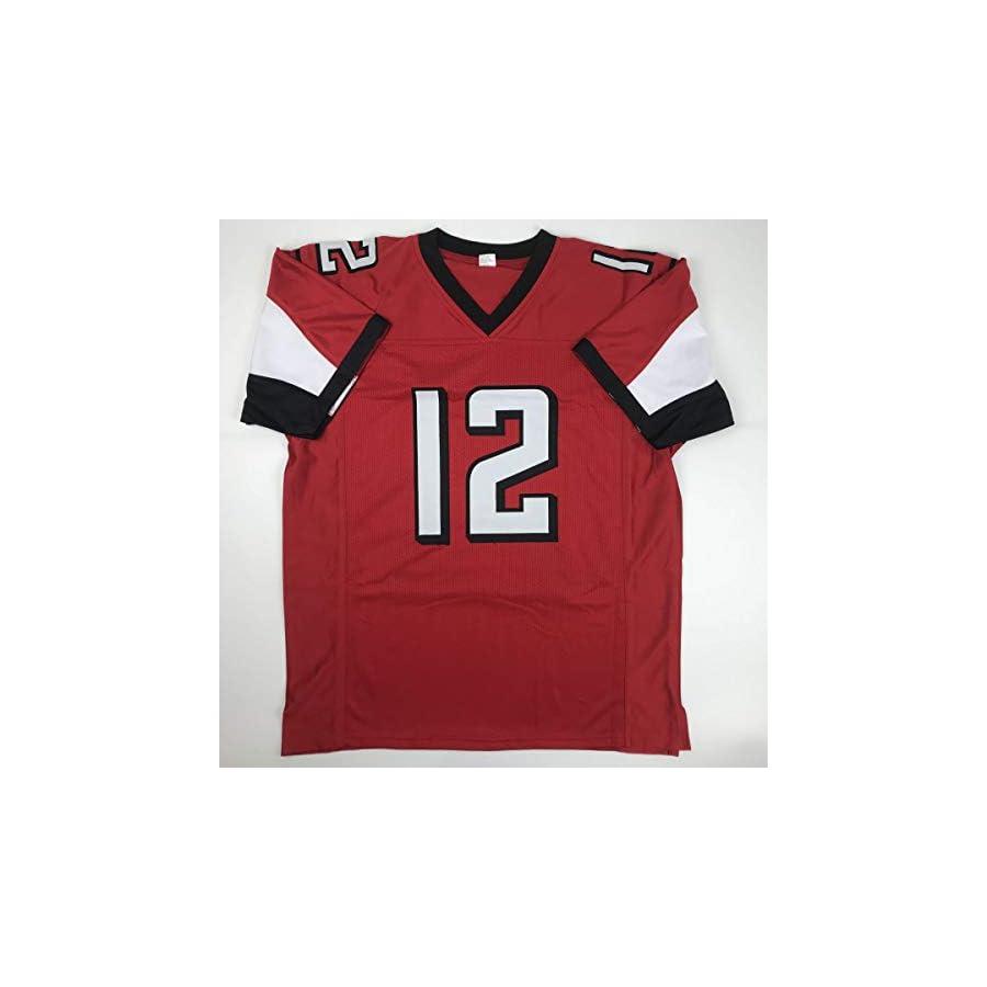 Autographed/Signed Mohamed Sanu Sr Atlanta Red Football Jersey JSA COA Holo Only