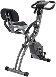 Exercise Bike 10 Levels of Adjustable Magnetic Resistance, Foldable and Quiet, with Arm Resistance Band, LCD S