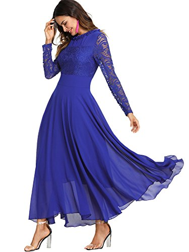 Milumia Women's Vintage Floral Lace Long Sleeve Ruched Neck Flowy Long Dress Blue ()