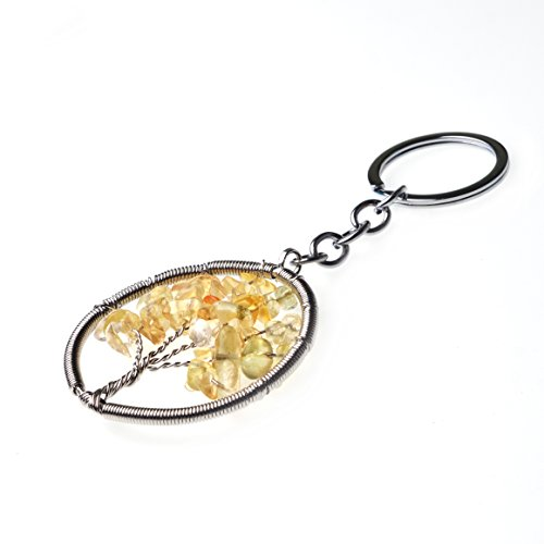 JoyaGift Charm Topaz Citrine Tree of Life Natural Crystal Stone Handmade DIY Multicolored Gravel Circle Keyring Pendant Necklace - Topaz Circle Pendant