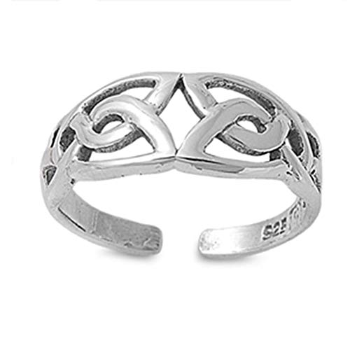 Adjustable Celtic Knot Toe Rings Sterling Silver 925 Beach Jewelry Gift