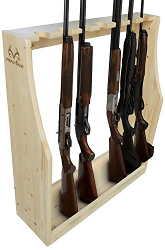 Wall Mounted Gun Rack - Rush Creek Creations Realtree Free Standing 7 Gun Storage Rack with Hidden Hardware - Solid New Zealand Pine - Easy Assembly