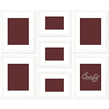craig frames 23247812 picture frame 7 piece wall set white frames white display - White Picture Frames