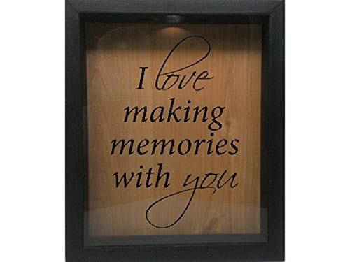 (Wicked Good Decor Wooden Shadow Box Wine Cork/Bottle Cap/Tickets 9x11 - I Love Making Memories with You (Ebony w/Black))