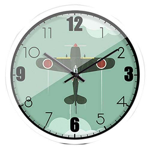 Motorized Airplane (Wall Clocks Green motorized airplane creative trend electronic quartz for bedroom living room sweeping movement mute non-ticking fashion TYCGY)