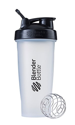 BlenderBottle Classic Loop Top Shaker Bottle, 28-Ounce, Clear/Black/Black