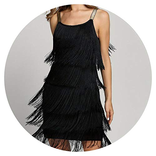 Tassel Dress Women Glam Sexy Flapper Spaghetti Strap Low Cut Mini Fringe Party Dresses,Black,XL ()