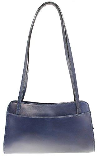 CTM Shoulder Bag Ladies Monedero de las señoras, 30x18x11cm, cuero genuino 100% Made in Italy Azul