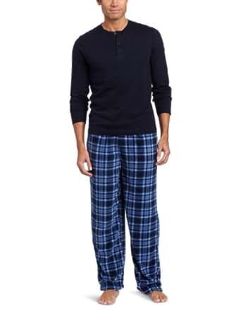 Intimo Men's Knit Henley Printed Micro Fleece Pajama Set, Navy, Small