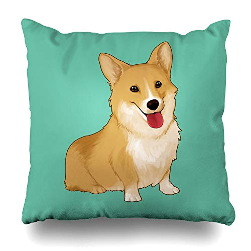 Ahawoso Throw Pillow Cover Square 20x20 Inches Cute Smiling Corgi Decorative Pillow Case Home Decor Pillowcase