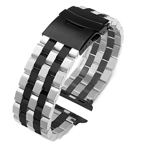 Fashion Two Tone Design Silver-Black Stainless Steel Watch Band Compatible for Apple 42mm/44mm Black Matte Metal Watch Strap Replacement Wristband for iWatch Series 4, Series 3, Series 2, Series ()