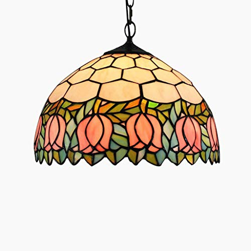 - 12-inch Tiffany Stained Glass Art Bar Restaurant Decorating Chandelier Pink Tulip Ceiling Light (E27 Light Source)