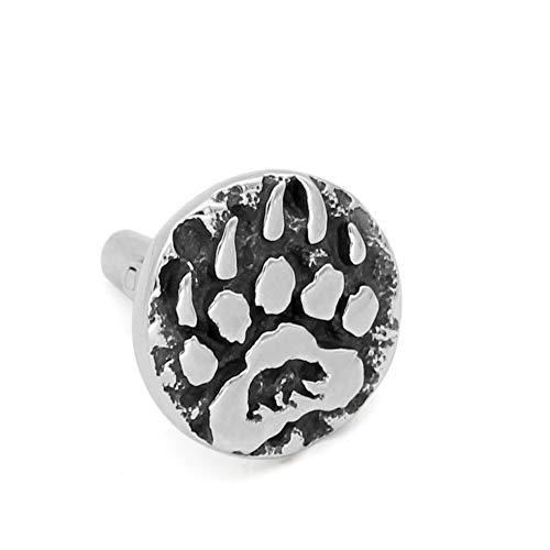 GuoShuang 1 Pair Stainless Steel Nordic Viking Amulet Rune Small Bear paw Cufflinks with Valknut Gift Bag