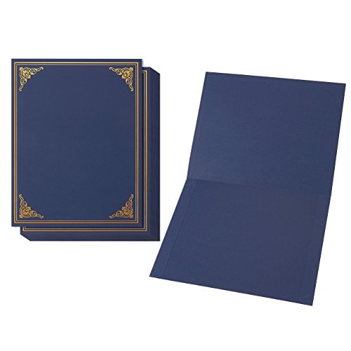 Diploma Holder Gold (12-Pack Certificate Holder - Diploma Cover, Document Cover for Letter-Sized Award Certificates, Navy Blue, Gold Foil, 11.2 x 8.8 inches)