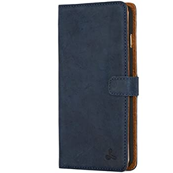 best website 48fac 1ceff iPhone 6 Plus Case, Snakehive Vintage Collection Apple iPhone 6 Plus Wallet  Case in Nubuck Leather with Credit Card/Note Slot (Navy)