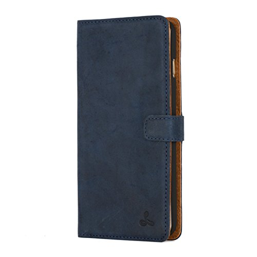 Snakehive iPhone 6 Plus Case, Vintage Collection Apple iPhone 6 Plus Wallet Case in Nubuck Leather with Credit Card/Note Slot (Navy)