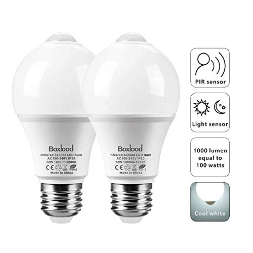 12W PIR Motion Sensor Light Bulb, Auto On/Off, Dusk Till Dawn A19 LED Bulbs, E26/120V/6000K/1000LM for Garage Stairs Hallway by Boxlood(2Pack)