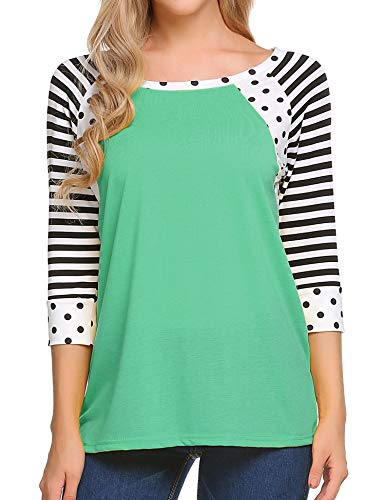 Zeagoo Women's Casual 3/4 Sleeve Loose T Shirt Raglan Sleeve Striped Tops Blouse, Aqua Green, X-Large (T-shirt Raglan Out Sleeve 3/4)
