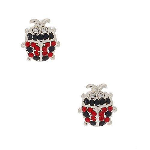 Claire's Girl's Silver Crystal Ladybug Stud Earrings - Claire Ladybug
