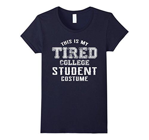 Womens Halloween Costume Shirt This Is My Tired College Student Cos Large (College Girl Halloween Costumes Homemade)