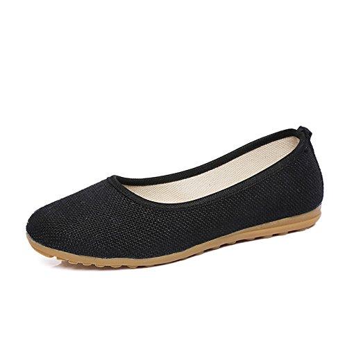 lino nude Black DYF fondo nazionale ricamo scarpa Le donne stile piatto morbido 6EpqEvHwn