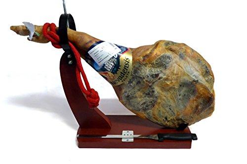 5kg Serrano-Schinken-Set mit Halter und Messer, Paleta Serrana Vorderschinken, +10 Monate Reifezeit, ohne Zusatzstoffe, geringer Salzgehalt