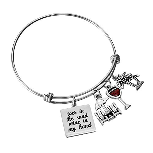 Miss Pink Toes in The Sand Wine in My Hand Bangle Adjustable Wire Charm Bracelet Jewelry Gifts for Beach Lovers