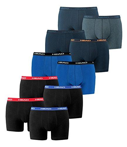 HEAD Herren Boxershorts 841001001 10er Pack, Wäschegröße:XL;Artikel:2x2er Red/Blue/Black / 1x2er blue/black / 1x2er Peacoat/Orange