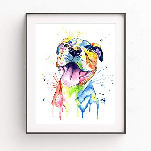 (Pitbull Wall Art by Whitehouse Art | Pitbull Painting, Dog Wall Art, Dog Picture | Professional Print of Smiling Pitbull Original Watercolor | American Pitbull Gifts | 6 Sizes)